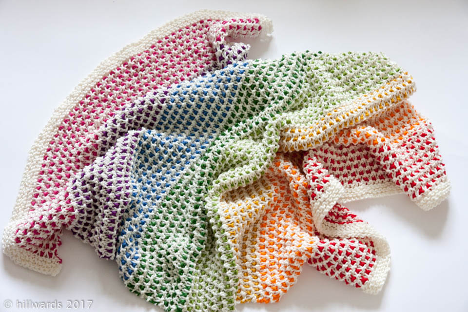 Handmade knitted rainbow cotton baby blanket